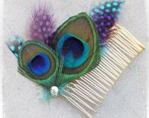 Peacock Wedding Hair Accessories - Peacock Theme Weddings - Hair Accessory - Bridal Comb Fascinator - Summer Fall Winter Spring Bridesmaids