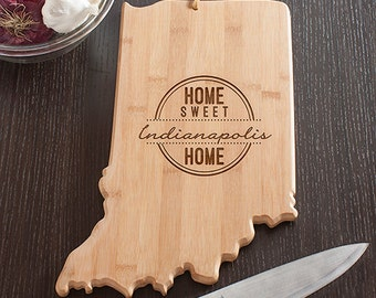 Indiana State Shaped Cutting Board, Engraved Indiana Shaped Cutting Board