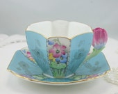 SOLD/Reserved.Vintage, Collectible,Queen Anne Shelley Teacup & Saucer, Tulip Flower Handle, Art Deco,Bone China made in England 1920s.