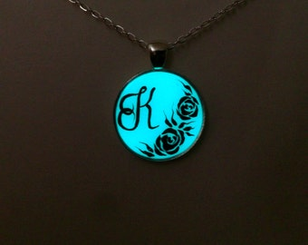 Aqua Glowing Necklace, Personalized, Glowing Jewelry, Glow in the Dark , Glowing Handpainted Pendant, Gift for Her, Initial Monogram Pendant