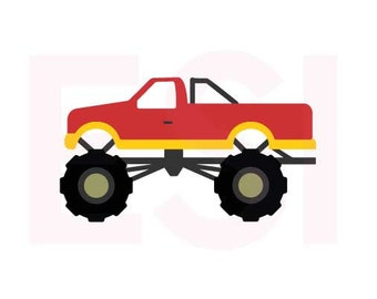 Monster Truck SVG, DXF, EPS, cutting files use with Silhouette Studio & Cricut Design space.