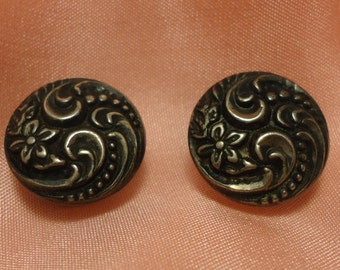 Beautiful Pair of STERLING SILVER Floral Design Round Cuff Links