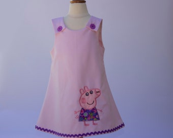 Peppa Pig Girl dress, toddler dress, baby dress, aline dress, girl birthday dress, girl dress, girl clothes, girl outfit  girl dress