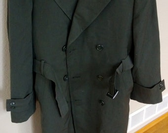 Vintage US Army Overcoat Trench Coat Rain Coat Size 34S Free Shipping