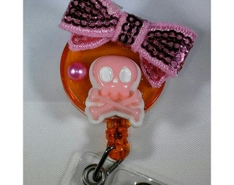 Badge reel - pink skull and bow