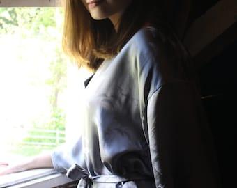 Grey 100% Silk Kimono Robe