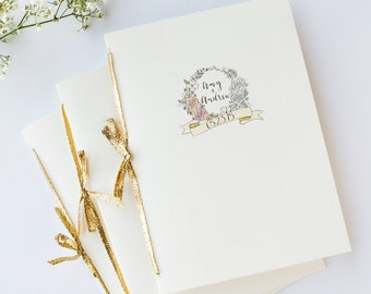 Illustrated Wedding Program | Custom & Hand Drawn Order of Service Booklet or Single-Sided Card
