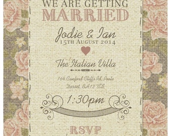 SAMPLE Vintage Rose Burlap Hessian Wedding Invitations!