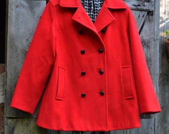 Mackintosh Peacoat in Red