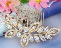 Bridal Crystal Leaf Hair Comb-Gold crystal Hair Comb- Gold Leaf Hair Comb-Clear Austrian Crystal Hair Comb-Flower Cluster Hair Comb