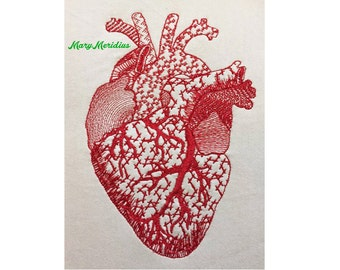 Human Heart Machine Embroidery Design ~ MaryMeridius ~Redwork ~ Anatomy