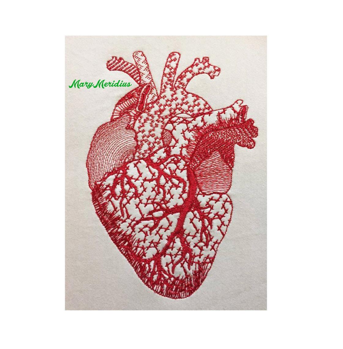 Human Heart Machine Embroidery Design MaryMeridius Redwork