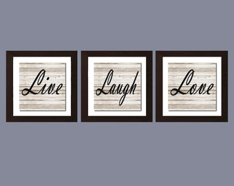 Shabby Chic Wall Art, Live Laugh Love Print, Rustic Decor, Housewarming Gift, Home Decor, Living Room Wall Art, Live Laugh Love Decor,