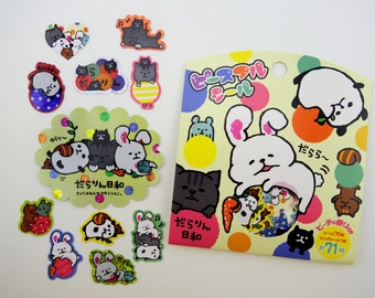 71 Japanese lazy animals SCENTED shimmer sticker flakes - kawaii mochi bunny rabbits & cats - sleepy panda bears and mice - cute squirrels