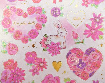 Gorgeous Japanese bunny rabbits & roses whimsical paper stickers - cute white forest bunnies - pink purple rose garden - wreaths bouquets