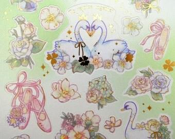 Gorgeous Japanese ballet of swans & roses whimsical paper stickers - white swan couple - flower garden - pink ballet dance slippers - clover