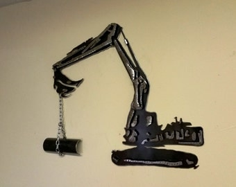 Layered 3-D Metal Excavator Tracked Backhoe Wall Hanging can Be Personalized with Your Name or Business Name