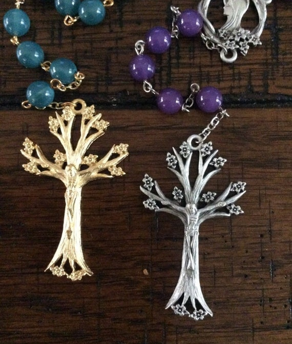 TREE OF LIFE Rosary - Czech Glass and Pewter Components