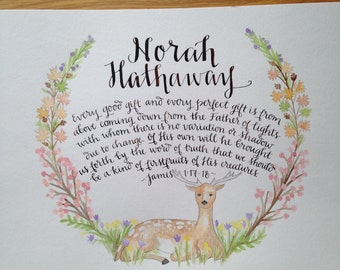 Child Name and Bible Verse of Blessing - Watercolor Wreath and Calligraphy