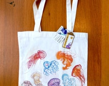 Jellyfish tote bag - shopping bag with illustrated jellyfish print