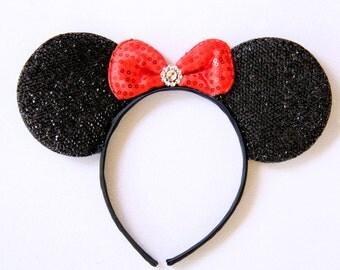 Sparkly Minnie Ears, Minnie Mouse Ears, Minnie Ears, Birthday Minnie Ears, Disney Ears, Mickey Ears, Minnie Mouse, Mickey Ears, Minnie