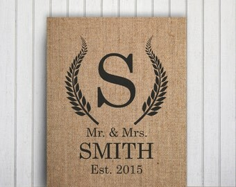 Burlap Monogram Download Personalized Family Name Decor, Mr And Mrs Printable Letter Name Art, Custom Family Name Print, Burlap Letter