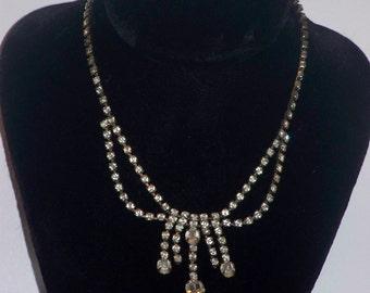 Vintage Clear Rhinestone Drop Necklace