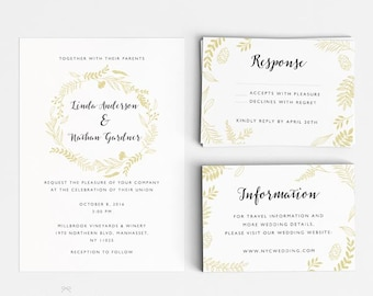 Wedding Invitation Printable Set - Floral Botanical Garden Wedding- Ready to Print PDF - rsvp card - Letter or A4 Size (Item code: P759)