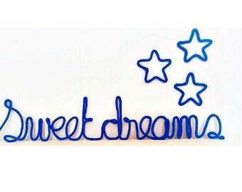 Wire Words, Wire Word Art, Word Wall Art, Yarn Wire Words, Custom Wire Signs, Sweet Dreams Wall Art, Royal Blue Nursery Decor, Kids Wall Art