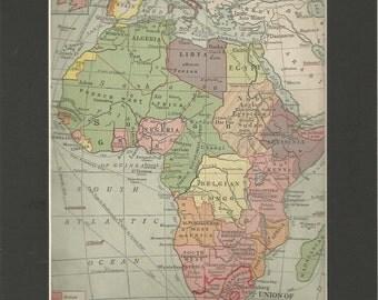 vintage colour 1940 map political africa
