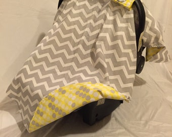 Chevron and Yellow Car Seat Cover