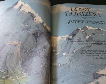 CLEARANCE James Hilton Lost Horizon - Vintage Blue Illustrated Hardcover Book