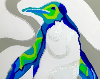 Penguin Gouache Painting. Penguin Art, Modern Penguin Gouache Painting