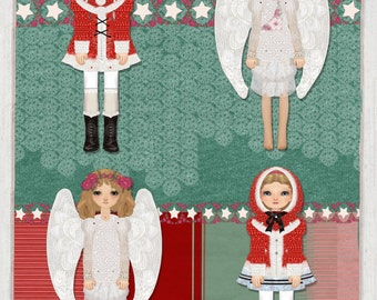 4 Christmas Decorations,Cut and Assemble Dolls and Angels Kit, Kids Craft Christmas