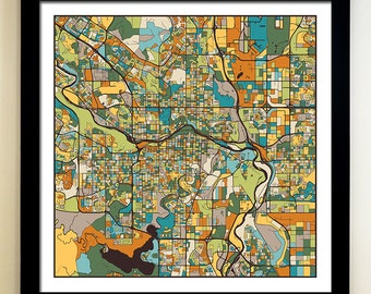CALGARY Map Art Print, Giclée Print, Calgary Wall Art
