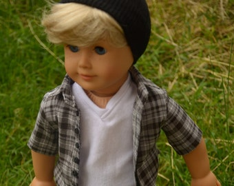 Black beanie hats for 18 inch dolls (like American girl dolls) boy doll clothes