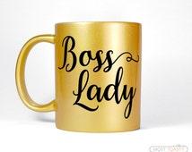 Boss Lady Mug, Office Desk Accessories, Entrepreneur Gift For Her, Home Office Coffee Mug, Metallic Gold Mug, Women's Gift for Boss Mug