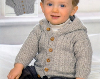 Vintage Knitting Pattern pdf. Toddlers Jumpers / Jacket / Hooded Jacket in 4 Ply.  To Fit Birth to 7 Years.  Instant Download