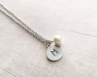 Personalized Initial Necklace - Stocking Stuffer - Initial Necklace - Hand Stamped Jewelry