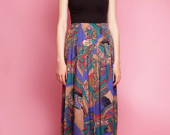 Vintage 80s colorful patterned long  skirt, 80s style, maxi skirt