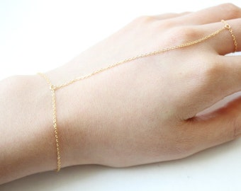 Simple Fitted Slave Bracelet, 14k Gold Fill or Sterling Silver Classic Chain Hand Bracelet