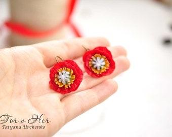 Red poppy earrings red flowers Poppy Earring red earring romantic ukraine red flower earrings flower jewelry red poppies wildflowers summer