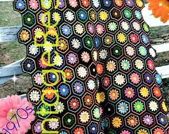 INSTANT DOWNlOAD - PdF Pattern - EASY Afghan Crochet PATTERN Vintage 70s Afghan She Love Me Loves Me Not He Loves Crochet Pattern Home Decor