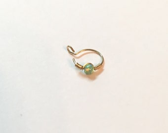 Fake nose ring gold, opal fake nose hoop, opal fake nose piercing, opal nose ring fake, fake nose ring gold hoop, fake nose ring silver hoop