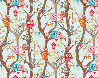 FLANNEL Tree Party Main in Blue by Kelly Panacci for Riley Blake Designs