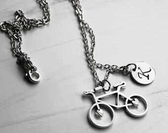 Custom Bike Necklace, Initial Necklace, Personalized Bicycle, Spin Teacher Gift, Sports Jewelry Charm Necklace, Mountain Biking, Race