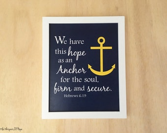 Nautical nursery wall art. Nautical Bible Verse Printable. Hebrews 6:19. Nautical scripture art. Christian art. Instant Download.