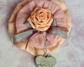 Handmade rose brooch pin - Romantic fabric cream brooch, wedding jewelry, gift fot her - 2,5 inches