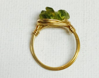 Peridot Triple Chip Gold Wire Wrapped Ring