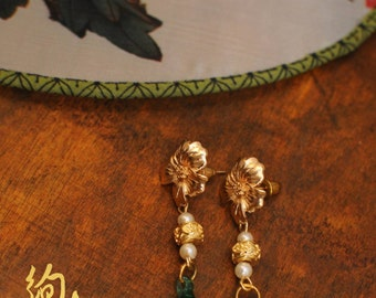 Emerald Drops Oriental Stud Dangle Earrings